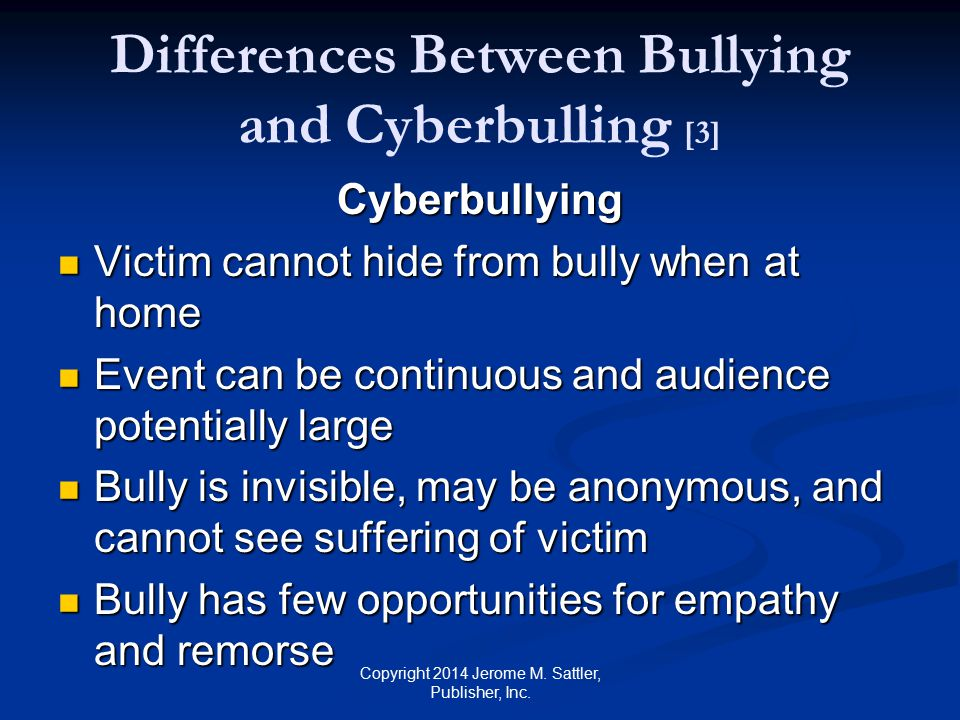 Differences Between Bullying and Cyberbulling [3]